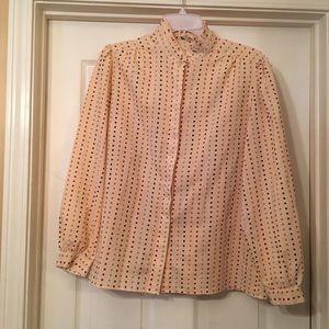 Vintage Size 16 Ruggeri Long Sleeve Beige Blouse